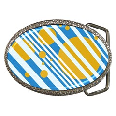 Blue, yellow and white lines and circles Belt Buckles