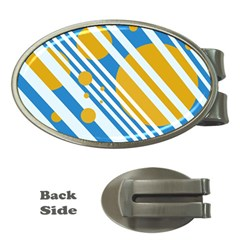 Blue, yellow and white lines and circles Money Clips (Oval)