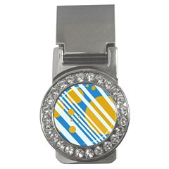 Blue, yellow and white lines and circles Money Clips (CZ)