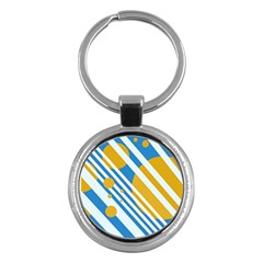 Blue, yellow and white lines and circles Key Chains (Round)