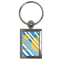 Blue, yellow and white lines and circles Key Chains (Rectangle)