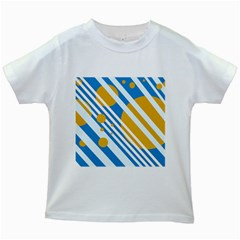 Blue, yellow and white lines and circles Kids White T-Shirts