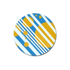 Blue, yellow and white lines and circles Magnet 3  (Round)