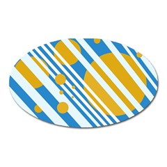 Blue, yellow and white lines and circles Oval Magnet