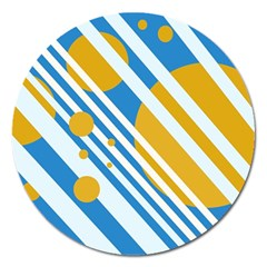 Blue, yellow and white lines and circles Magnet 5  (Round)