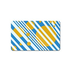 Blue, yellow and white lines and circles Magnet (Name Card)