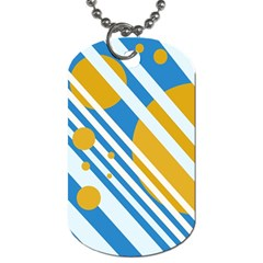 Blue, yellow and white lines and circles Dog Tag (One Side)