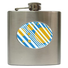 Blue, yellow and white lines and circles Hip Flask (6 oz)