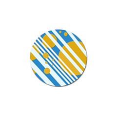 Blue, yellow and white lines and circles Golf Ball Marker