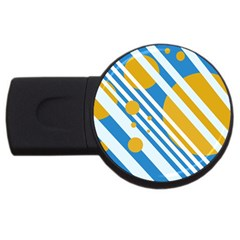 Blue, yellow and white lines and circles USB Flash Drive Round (2 GB)