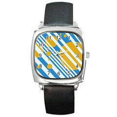 Blue, yellow and white lines and circles Square Metal Watch