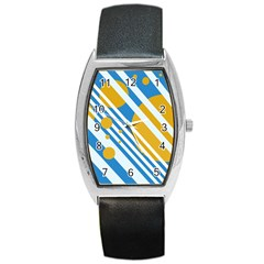 Blue, yellow and white lines and circles Barrel Style Metal Watch
