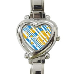 Blue, yellow and white lines and circles Heart Italian Charm Watch