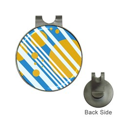 Blue, yellow and white lines and circles Hat Clips with Golf Markers