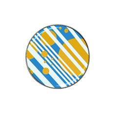 Blue, yellow and white lines and circles Hat Clip Ball Marker (4 pack)