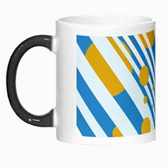 Blue, yellow and white lines and circles Morph Mugs