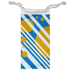 Blue, yellow and white lines and circles Jewelry Bags