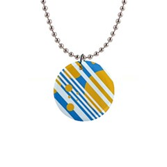 Blue, yellow and white lines and circles Button Necklaces
