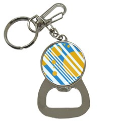Blue, yellow and white lines and circles Bottle Opener Key Chains