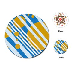 Blue, yellow and white lines and circles Playing Cards (Round)