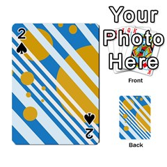 Blue, yellow and white lines and circles Playing Cards 54 Designs