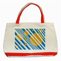 Blue, yellow and white lines and circles Classic Tote Bag (Red)
