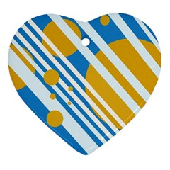 Blue, yellow and white lines and circles Heart Ornament (2 Sides)
