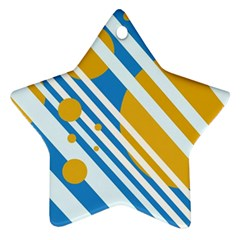 Blue, yellow and white lines and circles Star Ornament (Two Sides)