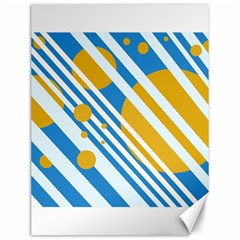 Blue, yellow and white lines and circles Canvas 12  x 16