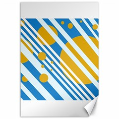 Blue, yellow and white lines and circles Canvas 12  x 18