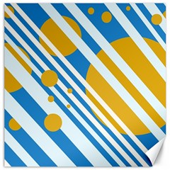 Blue, yellow and white lines and circles Canvas 16  x 16