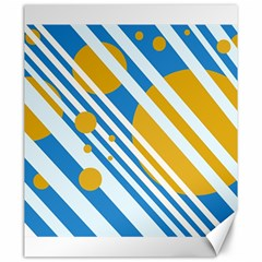 Blue, yellow and white lines and circles Canvas 20  x 24