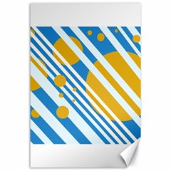 Blue, yellow and white lines and circles Canvas 24  x 36
