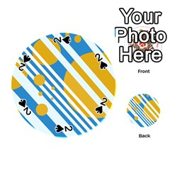 Blue, yellow and white lines and circles Playing Cards 54 (Round)