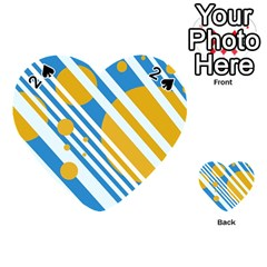 Blue, yellow and white lines and circles Playing Cards 54 (Heart)