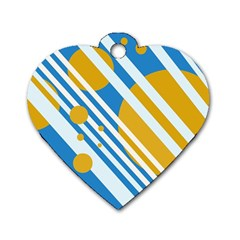 Blue, yellow and white lines and circles Dog Tag Heart (Two Sides)