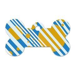 Blue, yellow and white lines and circles Dog Tag Bone (Two Sides)