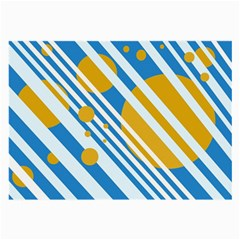 Blue, yellow and white lines and circles Large Glasses Cloth (2-Side)