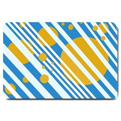 Blue, yellow and white lines and circles Large Doormat