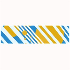 Blue, yellow and white lines and circles Large Bar Mats