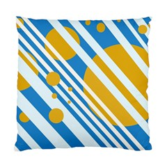 Blue, yellow and white lines and circles Standard Cushion Case (Two Sides)