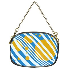 Blue, yellow and white lines and circles Chain Purses (Two Sides)
