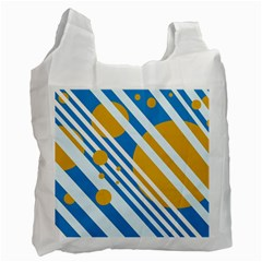 Blue, yellow and white lines and circles Recycle Bag (One Side)