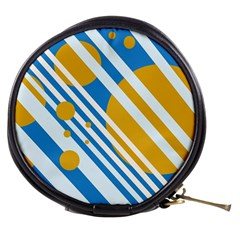 Blue, yellow and white lines and circles Mini Makeup Bags