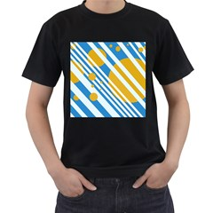 Blue, yellow and white lines and circles Men s T-Shirt (Black)