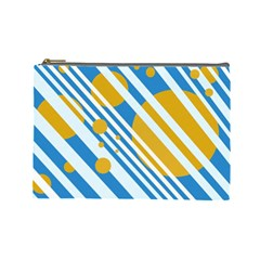 Blue, yellow and white lines and circles Cosmetic Bag (Large)