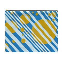 Blue, yellow and white lines and circles Cosmetic Bag (XL)