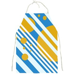 Blue, yellow and white lines and circles Full Print Aprons