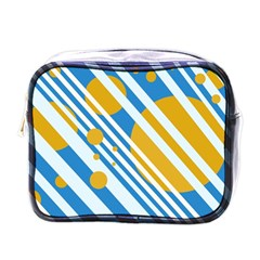 Blue, yellow and white lines and circles Mini Toiletries Bags