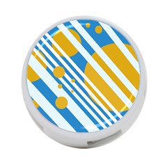 Blue, yellow and white lines and circles 4-Port USB Hub (Two Sides)
